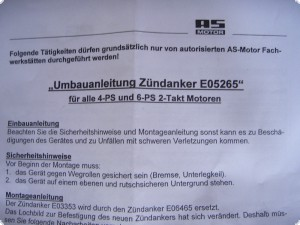 Zündanker Zündspule AS Motor Spule Zündfunken Mäher Allmäher Rasenmäher E05265 ersetzt E06465 (Umbausatz)