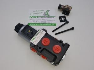 Hydraulik Umschaltventil Ventil 6/2 Wege 12 Volt 3/8 50 l/min Wechselventil Rotator Zange Holzgreifer Frontlader Magnetventil Wegeventil