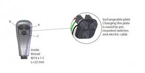 Frontplatte/Tasterplatte mit 1, 2 oder 3 Schaltern - Komplett mit Kabel für ISO Kreuzhebel Stoll 3478660