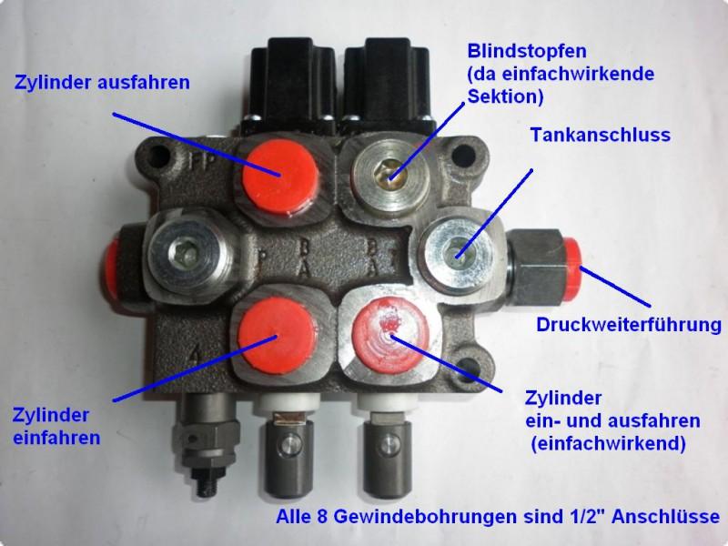Steuergerät für frontlader hydraulikventil 1xdw 1xew 60l min inkl
