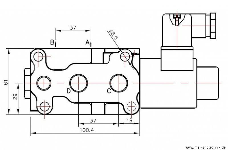 hydraulik umschaltventil ventil 8 3 wege 12 volt 3 8 50 l. Black Bedroom Furniture Sets. Home Design Ideas