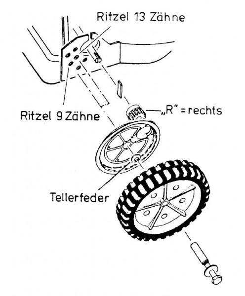 Orig Allmäher AS Antriebsritzel Antrieb rechts    E03126 Ritzel Rasenmäher